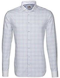 Seidensticker Herren Hemd Schwarze Rose Slim Fit weiß / blau / lila kariert mit weißem Kragen 228645.86