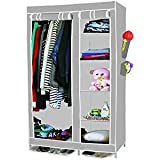 ANVA FOLDABLE WARDROBE CUPBOARD FOLDING WARDROVBE ALMIRAH A3 NON WOVEN FABRIC CLOTH Black Plate
