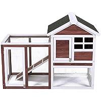 Conejera de Mascotas Casa para Conejito de Madera en Color Auburn y Blanco para Patio con