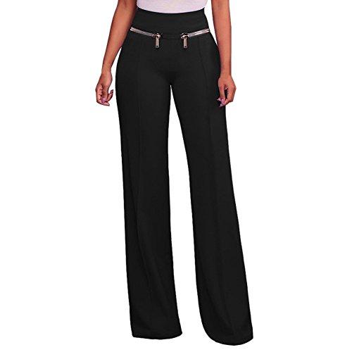 LAEMILIA Womens Ladies Chic Wide Leg Palazzo Long Pants High Waist Plus Size Zipper Elasticated Stretchy Trousers