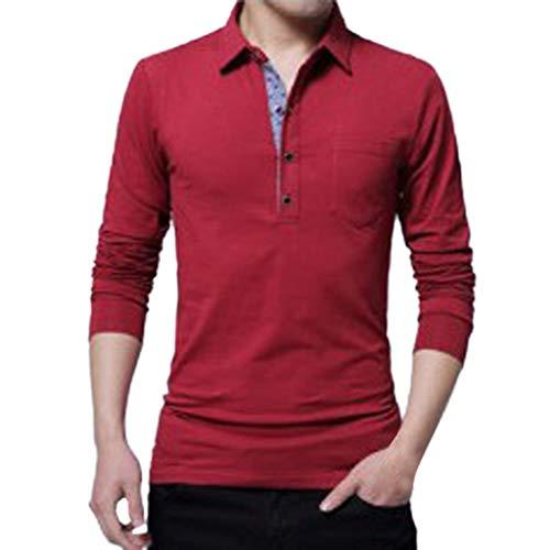 AIni Herren FrüHjahr Beiläufiges 2019 Neuer Lange Ärmelumfangd Revers Button Baumwolle T-Shirt Tops Bluse Warm Jacke Coat Mäntel 2019 Neuheit(XXXXL,Rot)