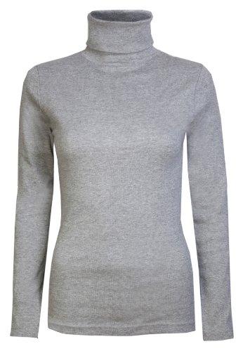 Damen Rollkragen-Pullover, ausschließlich von Brody & coâ ®, Unifarben, für den Winter und Skifahren, Stretch-Qualität, Jersey Baumwolle Gr. Medium, grau