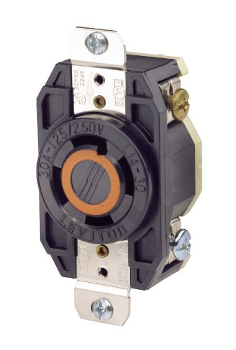 Leviton 2710 30 Amp, 125/250 Volt, Flush Mounting Locking Receptacle, Industrial Grade, Grounding, V-0-MAX, Black by Leviton Leviton Flush