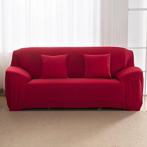Nibesser Housse de Canapé 1 2 3 4 Places Couverture Extensible Pur Couleur Décor de la Salon (145-185cm, rouge)