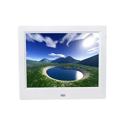 SEXTT Digitaler Videobilderrahmen, 8 Zoll 1024 × 768 HD LED-Bildschirm Elektronischer Fotorahmen mit Kalender, MP3 / Foto/Video-Player mit Fernbedienung,White
