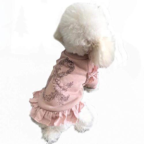 BLB Kleine Milch Hund Kleidung männlich net rot fliegenden Ärmel Rock Hund Kleidung Winterkleidung Baumwolle Teddy VIP als Bär Welpe Bomei klein (Color : Pink) -