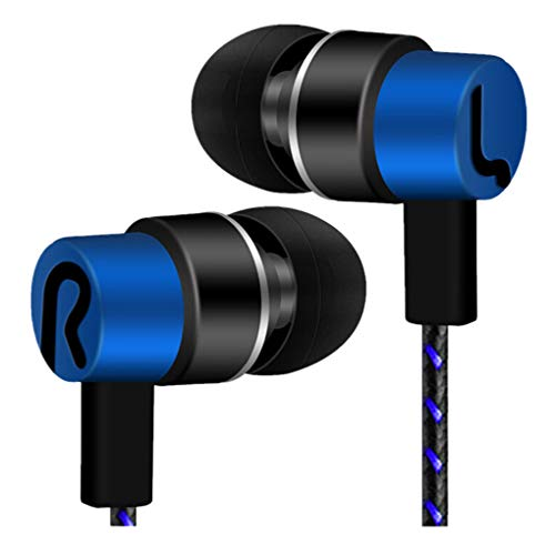 Dorical In Ear Kopfhörer, Ear Ohrhörer 2019 Metallisches Stereo Headset Earphones mit Ohrstöpseln und Mikrofon für iPhone, Android Smartphones und MP3 Players usw Sale(Blau,One size)