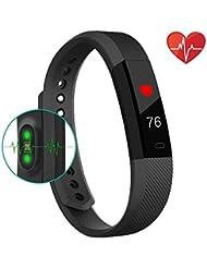 Fitness Tracker Smart Uhr mit Herzschlag Monitor Schritt Tracker Kalorienzähler Call SMS WHATSAPP, Touchscreen, Armband Wasserdicht Activity Tracker Schrittzähler für IOS Android Geräuschunterdrückung schwarz