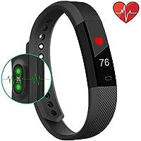 Fitness-Tracker, Smart-Uhr mit Herzschlag-Monitor, Schritt-Tracker, Kalorienzähler, Anruf, SMS, Whatsapp, Touchscreen, Armband, Wasserdicht, Activitäts-Tracker, Schrittzähler, für IOS, Android, Schwarz