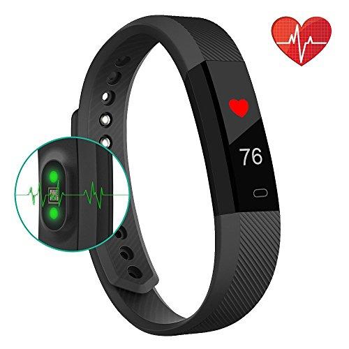 Fitness-Tracker, Smart-Uhr mit Herzschlag-Monitor, Schritt-Tracker, Kalorienzähler, Anruf, SMS, Whatsapp, Touchscreen, Armband, Wasserdicht, Activitäts-Tracker, Schrittzähler, für IOS, Android, Schwarz, schwarz (Herunterladen Whatsapp)