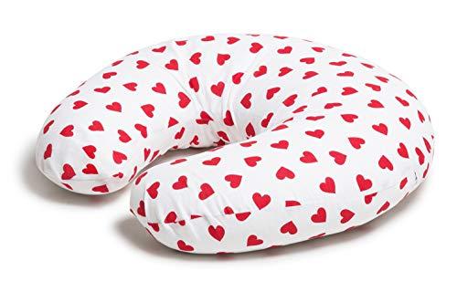 Niimo® Stillkissen Klein, Baby Stillkissen, Stillkissenbezug Weiß- Rot Herz 100% Baumwolle, Abnehmbar   Multifunktionales für Mutter und Baby, Qualität Made in EU (Weiß- Rot Herz)
