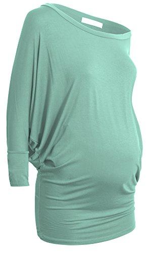 Maternité Tunique Sporty Elégant col rond drapé 3/4 Jersey manches Dolman maternité menthe fraîche