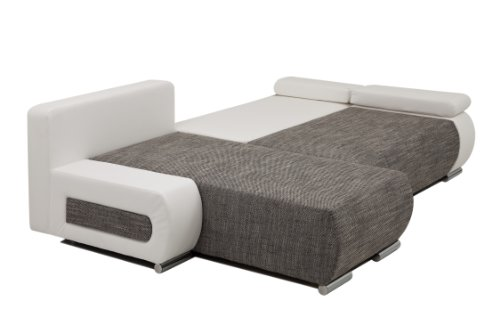 ULM Ecksofa mit Schlaffunktion und Bettkasten in L-Form