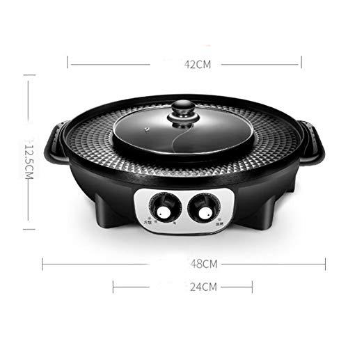 Eléctrico Sin humo Parrilla para interiores Utensilios de cocina de olla caliente multifunción Wok saludable,1