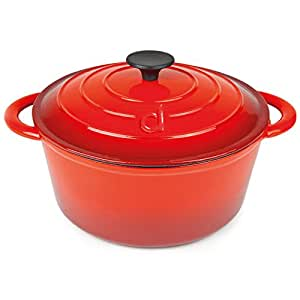 Andrew James Large Casserole Dish with Lid - 4.6 Litre (4 Quart) Capacity Cast Iron - Non Stick - Oven Safe - Covered Dish made from Cast Iron with Red Enamel Coating