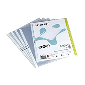 Rexel Embossed A4 Top Open Pocket with Embossed Surface (Clear, Pack of 50)