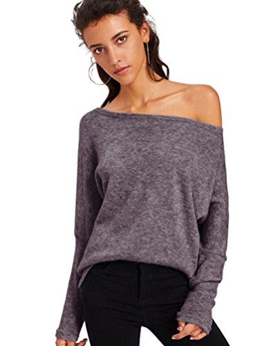 Sentao Donna Casual Autunno e Inverno Camicetta Tops Maniche Lunghe Maglietta Felpa Senza Spalline Pullovers Sweatshirt Stile 9