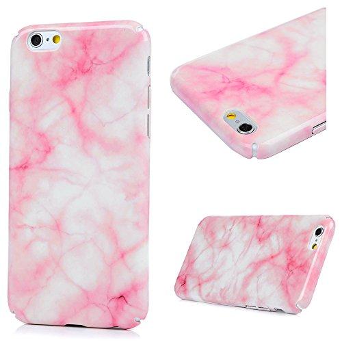 "Badalink iphone 6S Plus/6 Plus (5.5"") Hülle Voll-Fenster Schutzhülle Bunt PC Cover Handyhülle Hardcase Schale Pink Rosa Marmor Marmorieren Muster Hülle Pink Rosa Marmor Marmorieren"