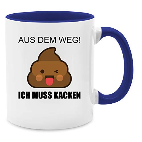 s dem Weg! Ich muss kacken - Unisize - Dunkelblau - Q9061 - Kaffee-Tasse inkl. Geschenk-Verpackung ()