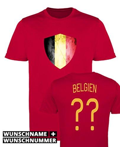 Comedy Shirts - Belgien Trikot - Wappen: Groß - Wunsch - Herren Trikot - Rot/Gelb Gr. XL