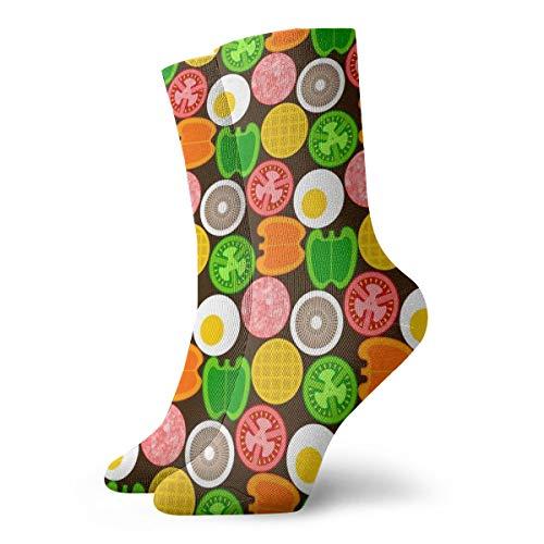 Ye Hua Fun Socks -07392345 On The Griddle_29996 Malerei Kunst gedruckt lustige Neuheit Tier lässig Baumwolle Crew Socken 11.8inch