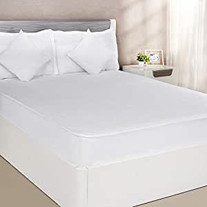Amazon Brand - Solimo Waterproof Terry Cotton Mattress Protector, 78x60 inches, Queen Size (White)