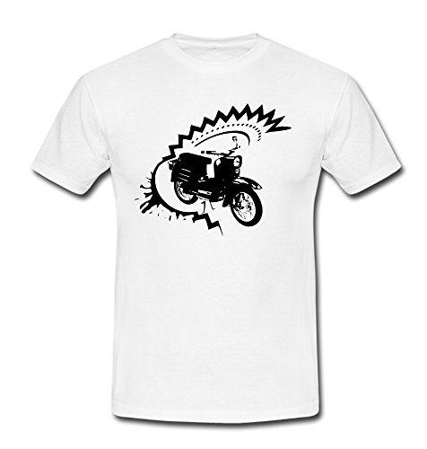 T-Shirt Schwalbe Roller DDR Scooter Moped Bike weiß/schwarz S-XXL Weiß