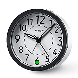 Annsky Non Ticking Alarm Clock with Nightlight, Desk Bedside Silent Clock with Snooze function,Battery Operated Travel Small Clocks for Kids Bedroom Office