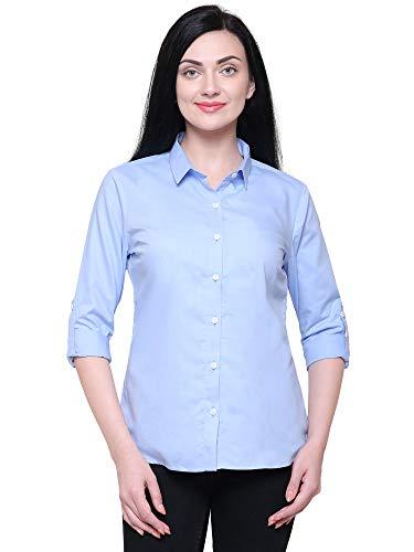 GARMR Women Royal Blue 100% Cotton Solid Formal Shirt