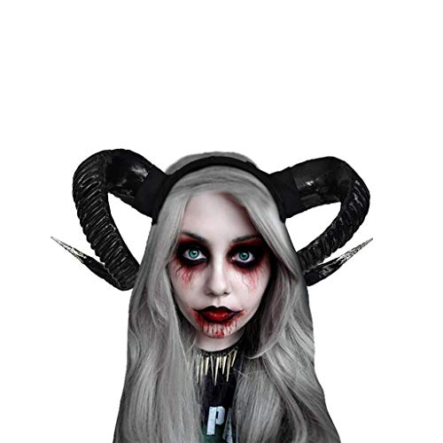 chmuck Damen Karneval Party Maskerade Ball Prom Gothic Ziegenhorn Stirnband Stirnbänder Festliche Cosplay Kostüm Haarschmuck Schwarz Evil Queen Cosplay Stirnbänder ()