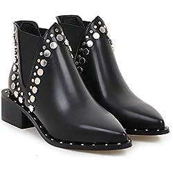 NAFTY Zapatos De Mujer Negro Invierno PU Zapatos de Mujer de Cuero Cuadrado Med Heel Punk Botines con Tachuelas Motorcyle Botas Chelsea, Negro, 6.5