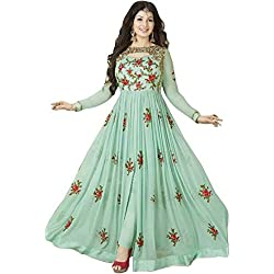 Aryan Fashion Women's Georgette Anarkali Salwar Suit Set (Er_Ab10215_Georgette Green Georgette_Free Size)