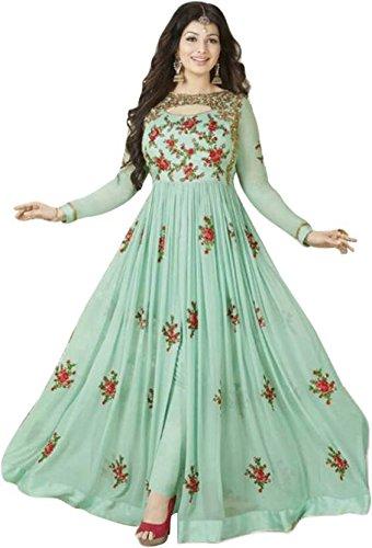 Aryan Fashion Women's Georgette Anarkali Salwar Suit Set (Er_Ab10215_Georgette Green Georgette_Free Size)