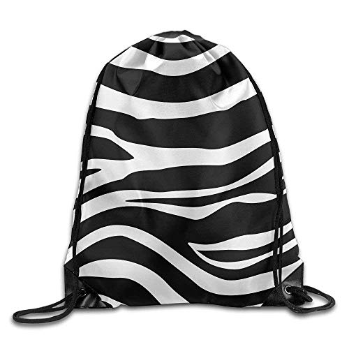 Haloxa 3D Print Drawstring Backpack | Rucksack | Shoulder Bags | Gym Bag - (Black Zebra Pattern) -