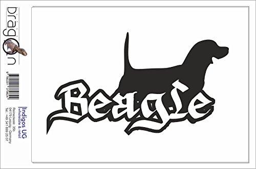Black Dragon - T-Shirt Herren - JDM / Die cut - Beagle Hund Schwarz