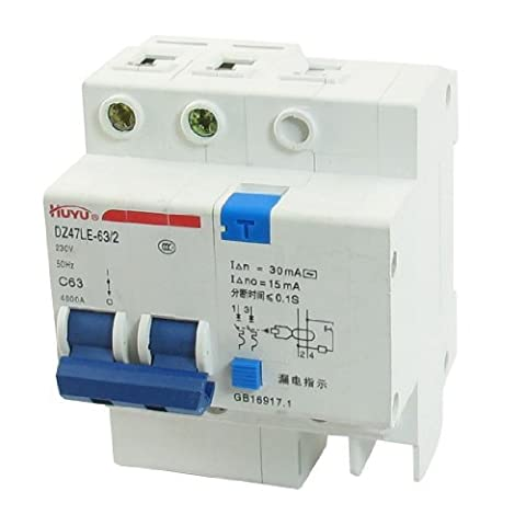 DZ47LE-63 C63 AC 230V 63A Two Pole On/Off Switch Circuit