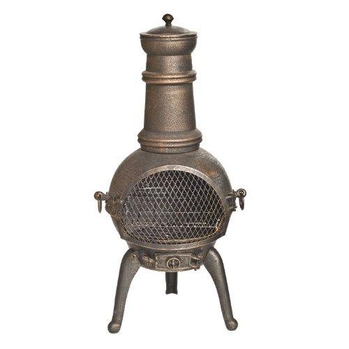 La Hacienda Sierra - Chiminea - Garden Heater with Grill - Bronze, H 95cm