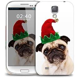 Xmas PUG Navidad cubierta de la caja protectora del telŽfono divertido pl‡stico Samsung Galaxy S5 GS5 (imagen muestra ejemplo galaxia S4)