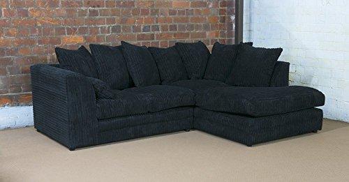 Dylan - gamma di arredi comprensiva di divani a 2 e 3 posti, divani angolari, sedie girevoli e sgabelli, colore: nero, black, right hand corner plus footstool
