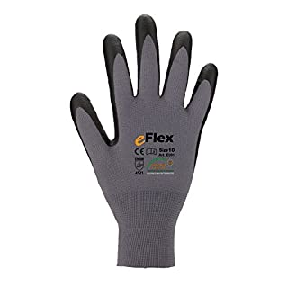 Asatex E091 9 Finely Knitted Gloves with Micro Foam-Coating, Grey/Black, 9