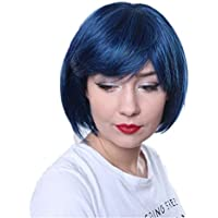 Prettyland C555 - Peluca de peinado de la sacudida azules peluca de pelo corto bob partido - azul-negro