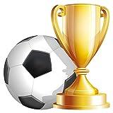 Wandtattoo Fußball mit Pokal in Farbe Wandsticker Fußballfan Dekoration
