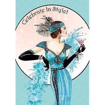 Art Deco Lady Celebrate In Style Birthday Card Amazon