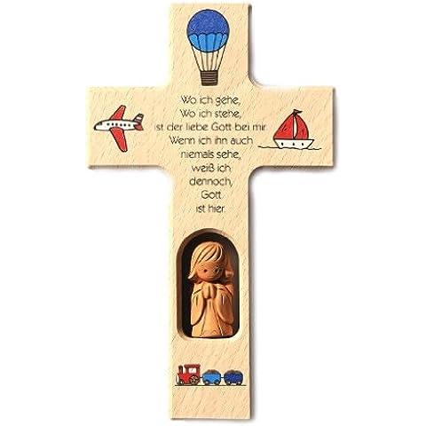 Protezione Angelo con croce in argilla ' dove andate, dove sono ... '