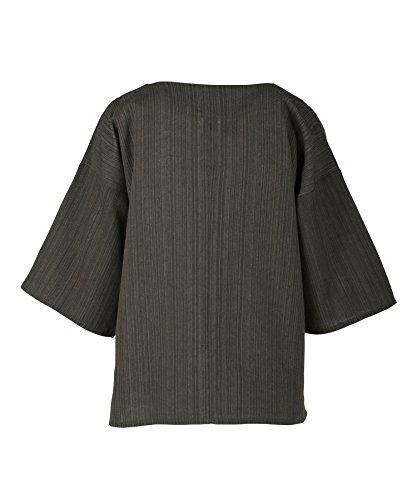 Lofbaz Donna A Strisce Cotone Manica 3/4 Top Camicie Tinta Unita Verde scuro