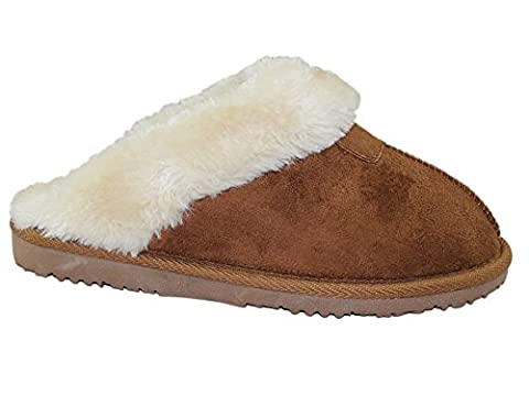 Ladies Kids Girls Ella JILL Faux Suede Fur Lined Trim Slip On Luxury Winter Gift Boxed Mules Slippers Size 3-9 (UK 13 Kids,