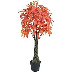 Decovego Pachira Glückskastanie Kunstpflanze Kunstbaum Künstliche Pflanze Rote Blätter 140cm