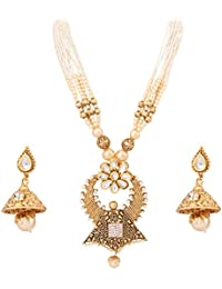 Adoreva Gold Plated Pearl Long Necklace Earrings Set For Women