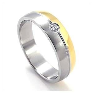 KONOV Schmuck Herren-Ring, Damen-Ring, Edelstahl Zirkonia Diamant, Zweifarbig, Gold Silber - Gr. 54