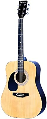 Falcon LFG100N - Guitarra acústica con cuerdas metálicas (tilo, para zurdos), color natural